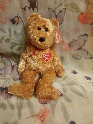 Ty Beanie Babies - Thank You Bear - BBOM April 2004 With Tags And Protector.  64 • 14.15£