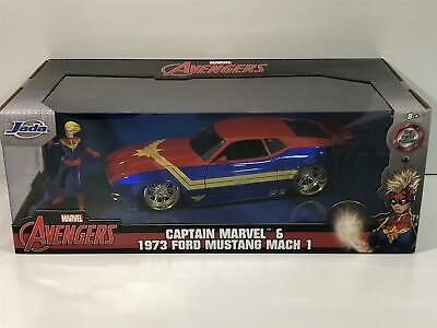 Captain Marvel 1973 Ford Mustang With Figure 1:24 Scale Jada 31193 • 32.99£