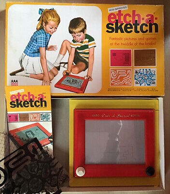 Denys Fisher Boxed ETCH-A-SKETCH With Instructions & 3 Plastic Game Inserts 70's • 19.99£