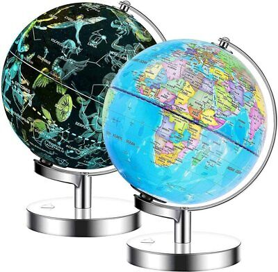 Exerz Illuminated World Globe 2 In 1 LED Light Up Globe Constellation Dia 23CM • 34.99£