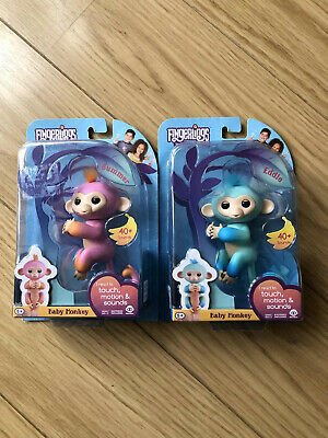 Set Of 2 New Monkey Fingerling Toys Pink And Blue  • 14.99£