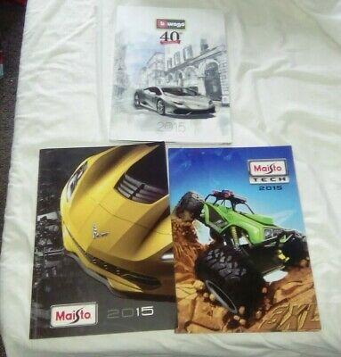 Job Lot Of 1 Bburago And 2 Maisto 2015 Diecast Model Catalogues • 15£