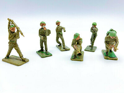 Vintage 1960s Crescent British 54mm Toy Soldiers Complete Set 6 Poses L1-L4 • 8.99£
