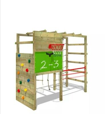 FATMOOSE Wooden Climbing Frame CleverClimber With Monkey Bars & Gymbar.  • 130£