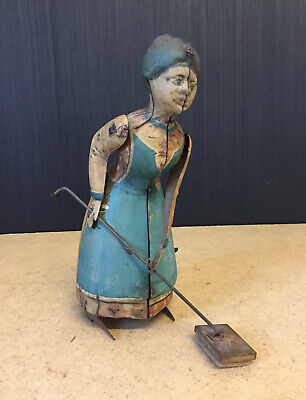 A Nice Rare Antique German Tinplate Wind Up Busy Lizzie Mopping Lady Toy C. 1900 • 325£