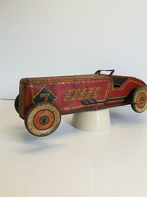 Mettoy/ Record Vintage Working Red Racing Car. Tin Plate Clockwork  1938s RARE  • 134£