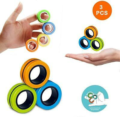 Magnetic Rings 3pc Fidget Toy Fingers Tricks Anti Stress Activity Anxiety Relief • 2.99£