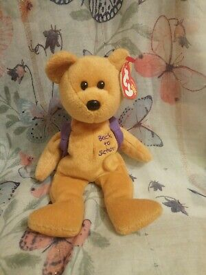 Ty Originals Beanie Babies - Books The Bear  With Purple Bag     70 • 8.15£