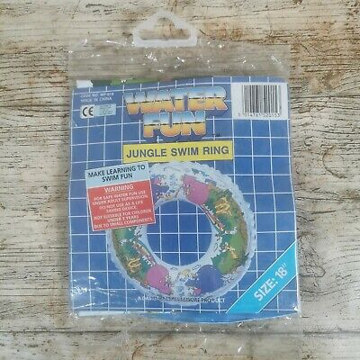 Vintage 1980/90s 18 Inch Swim Ring NEW Old Stock WATER FUN Floaty Jungle Theme • 19.99£