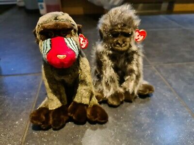 Ty Large Gorilla Rare & Large Baboon Retired Beanie Babies • 9£