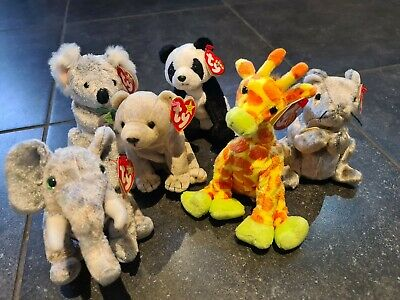 TY X6 Assorted Beany Babies Rare Includes Cheddar Mouse & Koala Bear  • 8£