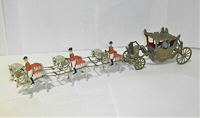 Vintage Britains Metal Coronation Coach With 6 Horses • 49.95£