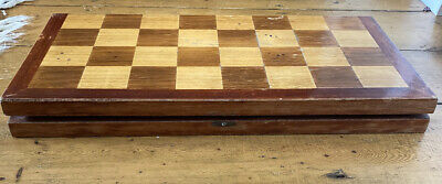 Heavy Vintage/Antique LARGE Solid Wood FOLDING CHESSBOARD 19  SQUARES 55mm 4.5kg • 24.99£