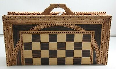 Hand Carved Wooden Chess Board With Pieces ##WBRB220 • 10.50£