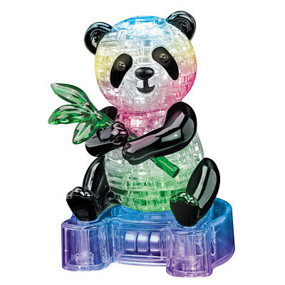 3D LED Light Up Cute Panda Crystal Puzzle 58 Jigsaw Pieces With Stand BOXED • 10.95£