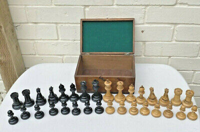Antique Staunton Weighted Chess Set, King 9cm Looks Hand Made/Turned  • 795£
