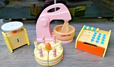 Wooden Kitchen Toy Bundle Incl Mixer, Till, Scales & Cake • 19.99£