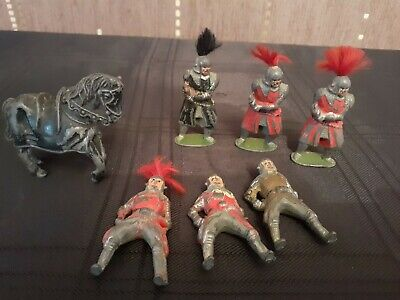 Cast Metal/lead Figures Knights And War Horse 7 X Pieces • 10£