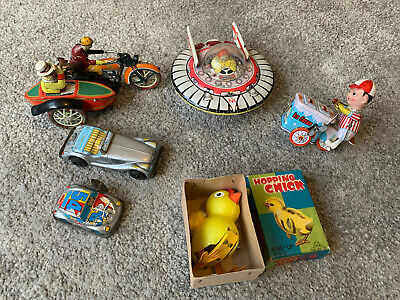 Vintage Wind Up Tin Toy MOTORCYCLE With SIDECAR UFO MG Car • 100£