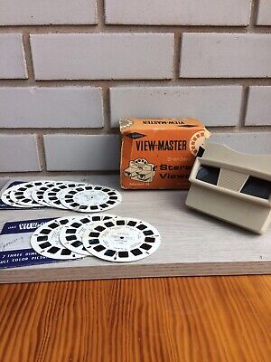 Sawyers View-Master Model G 3D Viewer With Box, And 8 Reels • 15£