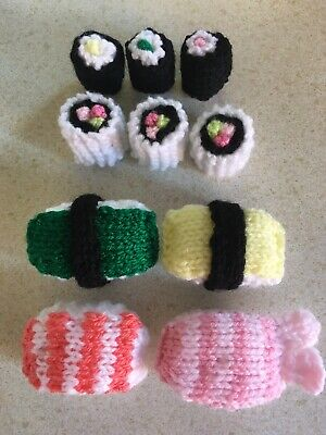 Sushi Play /display Hand Knitted Food • 4£