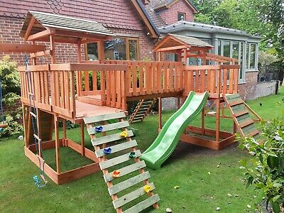NEW-Big Wooden Climbing Frame,monkey Bars,Slid ,Swing,  Assembly Included • 979.99£