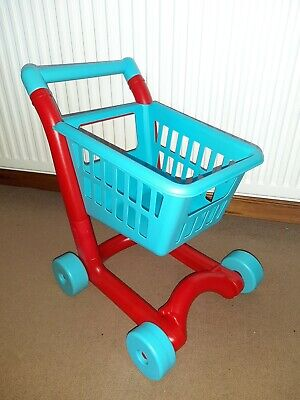 Kids Childrens Plastic Toy Play Supermarket Shopping Trolley Blue & Red ELC • 5£