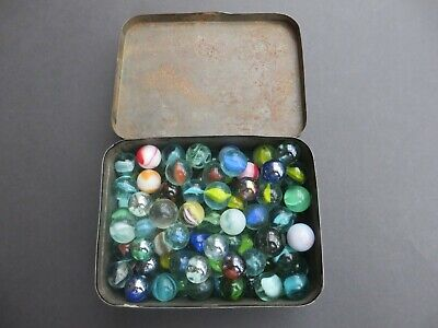 Mixed Lot Of 100+ Marbles In A Vintage St John's First Aid Tin. • 5.50£
