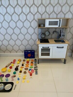 Ikea DUKTIG Kids Wooden Play Kitchen **with Pans And Food** • 40£