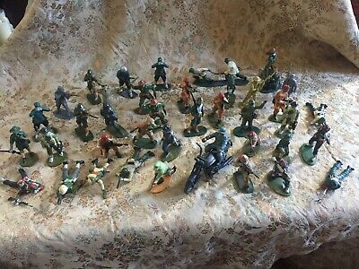 Vintage Plastic Army Men Job Lot Military Toy Soldiers & Motorbike 5cm Tall • 30£