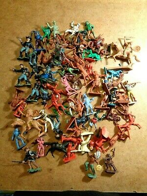 Toy Soldiers Cowboys Indians Figures Vintage Job Lot Cherilea Crescent Timpo • 17.36£