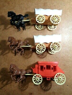 Crescent Toys Plastic Stagecoach And Wagons & Horses Vintage Job Lot Collection • 10£