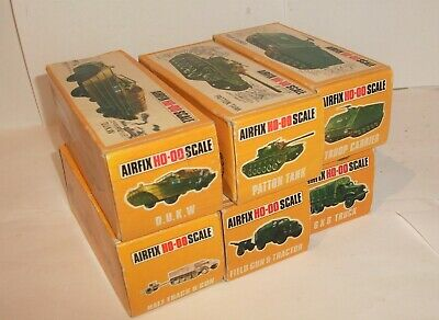 Airfix HO OO Military Vehicles X6 Job Lot Boxed Duck Tank Gun Tractor 6x6 Etc • 49£