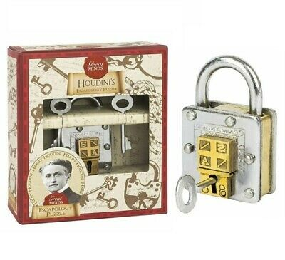 Great Minds Houdinis Escapology Puzzle Metal Padlock Professor Puzzle • 15.75£