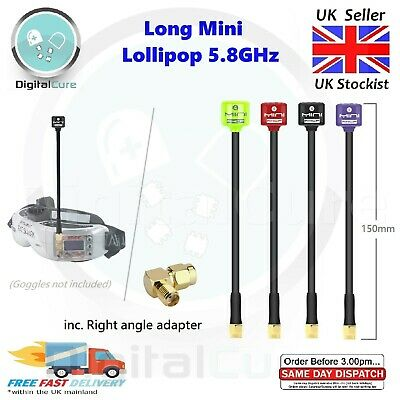 Mini Long 150mm Lollipop 5.8G 2.8dBi RHCP Antenna SMA RPSMA For FPV Goggles • 10.55£