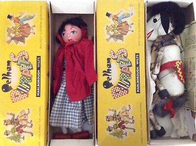 X2 Vintage Pelham Puppets (red Riding Hood) & (horse) In Original Boxes & Papers • 6.50£