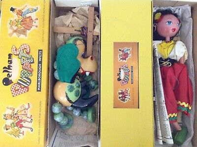 X2 Vintage Pelham Puppets (baby Dragon) & (gypsy Girl) In Original Box & Papers • 1£