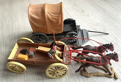 Vintage Timpo 1970's Cowboy Wagon And Open Wagon With Accessories • 21£