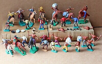 Vintage Late 1960's Timpo Toy Cowboys And Indians On Horseback And Foot X30 • 42£