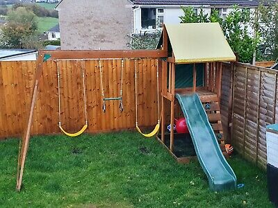 Wooden Climbing Frame With Slide Swings And Monkey Bars • 185£