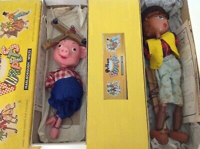 X2 Vintage Pelham Puppets (perky Pig) & (cowgirl) In Original Box & Papers No/re • 12.50£