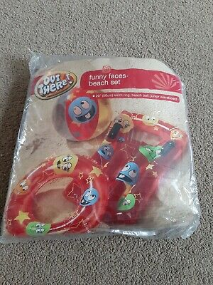 Kids Beach Set Funny Faces Swim Ring Float And Ball New • 3£