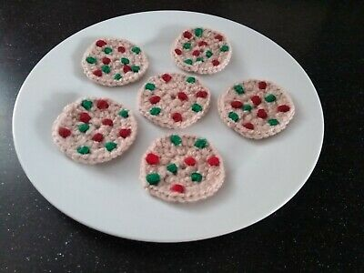 Hand Knitted 6 Christmas Cookies🍪-Childrens Educational Toy Food + Role Play • 3.75£