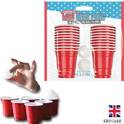 22pc Mini Beer Pong Set Party Drinking Game Red Cup Beerpong 20Cup 2Ball G3366 • 5.95£