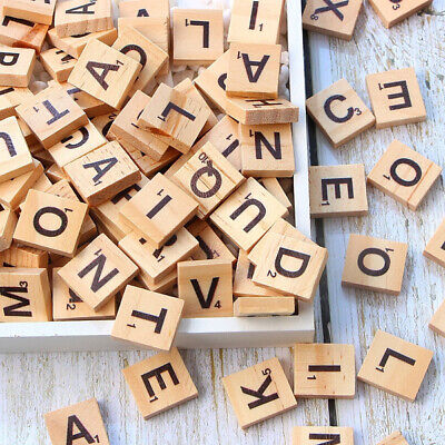 100 Wooden Scrabble Tiles Black Letters Numbers For Crafts Wood Alphabets  • 3.75£