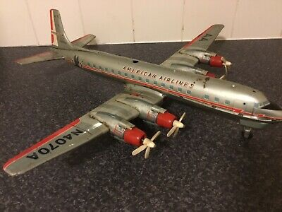 American Airlines DC7 Yonezawa Japan Tin Plate Toy Aircraft  Early 1960's • 57£