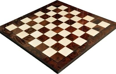 Walnut Burl & Maple Superior Traditional Chess Board 2.5  Squares - Gloss Finish • 270.51£