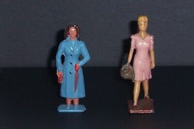 Two Vintage Crescent Figures Customers For Fish & Chip/ Butchers Shops • 20£