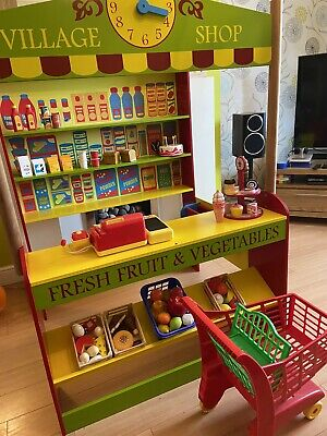 Bigjigs Wooden Toy Village Shop Food Store Accessories Role Play Children's • 38£
