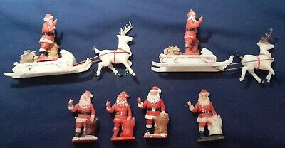 Vintage Crescent Plastic Father Christmas & Sleigh Also Used As Cake Decorations • 20£